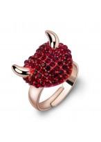 Fashionable Little Devil Open Mouth Swarovski Ring For Women
