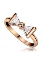 Fashionable Bowknot Zircon Ring For Women