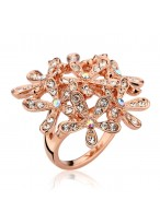 Women's Fashionable Happiness Flower Crystal Ring