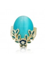 Fashionable Retro Opal Open Mouth Ring For Women
