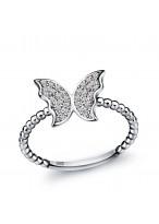 925 Sterling Silver Fashionable Butterfly Shape Little Finger Ring For Women