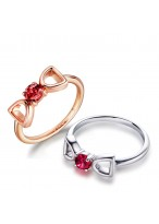 925 Sterling Silver Fashionable Double D Bowknot Ring For Women