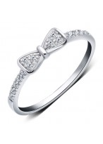 925 Sterling Silver Bowknot Diamond Inlaid Index Finger Ring For Women