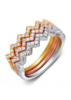 925 Sterling Silver Tri-colors Rose Gold Wavy Zircon Ring