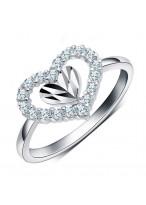 925 Sterling Silver Peach Heart Shape Zircon Ring For Lovers