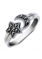 925 Sterling Silver Moon And Star Ring For Women
