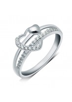925 Sterling Silver Micro Sparkle Swiss Diamond Inlaid Love Heart Ring