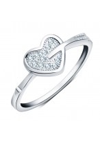 925 Sterling Silver Cupid's Arrow Love pEach Heart Ring
