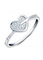 925 Sterling Silver Cupid's Arrow Love pEach Heart Ring