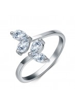 925 Sterling Silver Flower Crystal Opening Ring For Women