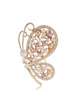 Butterfly With Diamond Crystals Sterling Gold Color Pin Brooch Jewelry