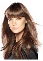 Schwarze Lange Gerade Kappenlose Weibliche Haarteile