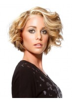Full Lace Wavy Blonde Synthetic Short Hair Wig