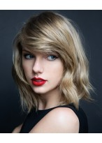 Taylor Swift Kurze Kappenlose Blonde Wellen Echthaar Perücke