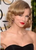 Taylor Swift Mittellange Spitzenfront Blonde Wellen Remy Echthaar Perücke