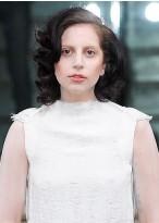 Weibliche Gaga Spitzenfront Mittellange Wellen Echthaar Perücke