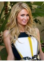 Paris Hilton Lange Locken Spitzenfront Blonde Echthaar Perücke