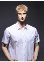 Vollspitzen Kurze Synthetische Blonde Gerade Perücke