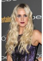 Ashlee Simpson Spitzenfront Lange Blonde Wellen Synthetische Perücke