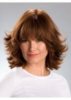 Kappenlos Mittellang Wellig Synthetisch Haar Perücken