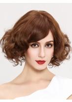 Braun Wellig Synthetisches Haar Kurz Full Lace Perücke