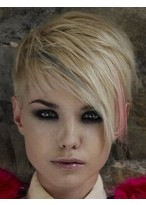 Kappenlose Kurze Gerade Synthetische Blonde Perücke