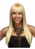 Lange Kappenlose Gerade Blonde Synthetische Perücke