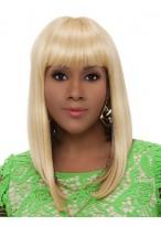 Kappenlose Mittellange Gerade Blonde Synthetische Perücke