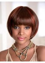 Kurze Synthetische Gerade Kappenlose Haar Perücke