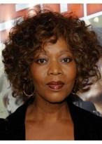 Glitter Kurze Locken African American Spitzenfront Perücke für Frauen 100% Echthaar