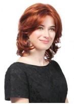 Mittellange Rote Wellen Haar Perücke