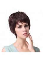 Modisch Weibliche Kurze Locken Braune Haar Perücke