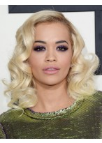 Rita Ora Mittellange Locken Perücke