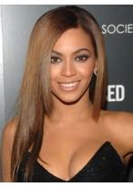 Beyonce Seidig glänzende Gerade Echthaar Vollspitzen Perücke