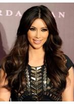 Kim Kardashian Mittelscheitel Lange Wellen Perücke