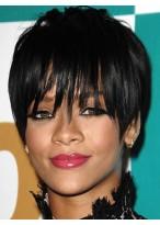 Rihanna Haarstil natürlich Schwarze Kurze Gerade Kappenlose Perücke
