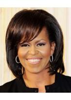 Michelle Obama Stufig Haarschnitt Perücke mit Pony