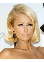 Paris Hilton Mittellange Locken Blonde Bob Perücke