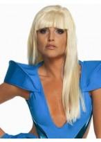 Sexy Lange Gerade Weibliche Gaga Kappenlose Perücke für Frauen