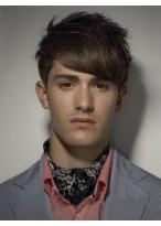 Glamouröse Kurze Gerade Synthetische Kappenlose Perücke für Männer