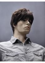 Modische Kurze Gerade Synthetische Kappenlose Perücke für Männer
