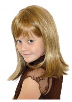 Handgebunden Vollspitzen Schulterlange Kinderperücke