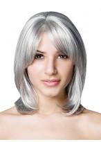 Mittellange Hohe Qualität Synthetische Gerade Graue Haar Perücke