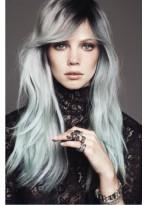 Vollspitzen Wellen Graue Synthetische Lange Haar Perücke